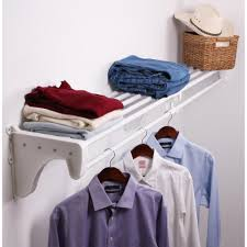 h expandable white steel s with 2 end brackets shelf and rod closet system