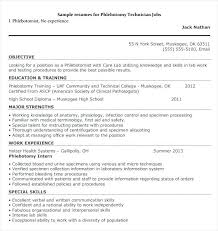 Surgical Tech Resume Sample Phlebotomy Entry Level Resumes Samples