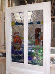 stained glass sailboat design front door