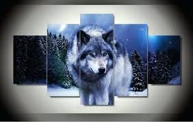 wolf wall art winter wolf 5 piece canvas wolf wall decor art wolf wall