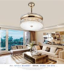 LED Crystal ceiling fan light modern minimalist living room lighting
