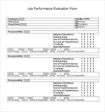 Job Performance Evaluation Form Templates Job Performance Evaluation 10 Download Documents In Pdf