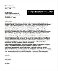 Sample Cover Letter For Teacher 8 Examples In Word Pdf