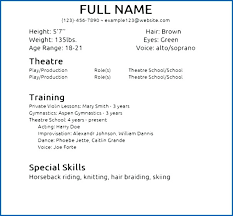 Child Actors Resume Template Best Of Acting Resume Sample No