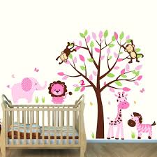tree wall mural decal pink and brown jungle murals for kids rooms with  elephant wall pink