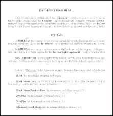 Business Investment Agreement Template Angel Investor India Contract Pdf