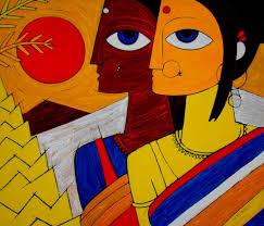 tribal women painting by artist jiaur rahman acrylic canvas