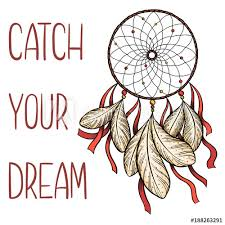 Dream Catcher Saying Magnificent Hand Drawn Vector Dreamcatcher With Red Ribbons And Catch Your