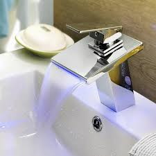 comeonlight deck mount stainless steel bathroom sink faucet contemporary thermochromic multi color waterfall led widespread