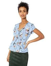 Vero Moda Size Chart Vero Moda Womens Cannes Floral Peplum Short Sleeve Top