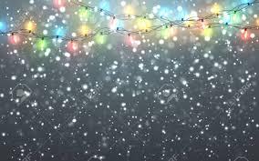 White Garland No Lights Christmas Snow Falling White Snowflakes On Dark Background
