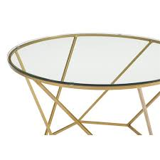 walker edison round glass top coffee table set in gold