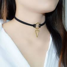 leiiy black leather choker necklace wrap gold plated geometry with triangle pendant for women girls