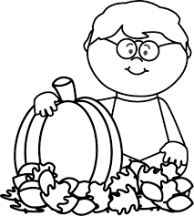 pumpkin clipart black and white. Interesting White Graphic Transparent Stock Black And Boy Sitting In Leaves With To Pumpkin Clipart And White 0
