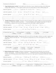 worksheet writing and balancing chemical reactions 2 answer key chemistry equations