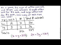 coffee word problem 2 variable system of equations