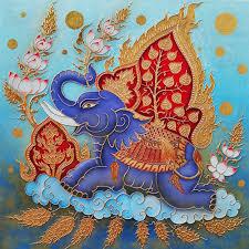 beautiful blue elephant thai painting l