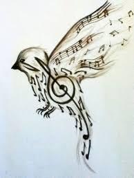 Musical Bird 3 Noty Tegninger Violin A Malerier