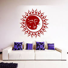 sun wall decal trendy designs: mandala wall decal ethnic sunshine stickers night stars vinyl decals sun and moon art mural home