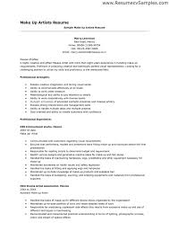 Makeup Artist Resume Entry Level Makeup Artist Resume Objective