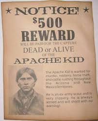 Details About Apache Kid Wanted Poster Western Outlaw Old West