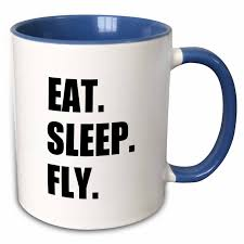 3drose eat sleep fly fun gifts for pilots flight crew and frequent flyers two tone blue mug 11 ounce walmart