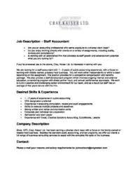 Ck Job Description Staff Accountant Cray Kaiser
