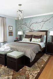 Amazing Trees Wall Decals Added Dark Varnished Wooden Queen Size Bed Frame  And Bedside Table Lamps Decors In Very Small Master Bedroom Ideas
