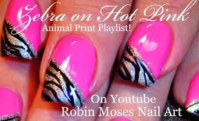 Zebra Print on HOT Pink Nails   Neon Animal Nail Art Design ...