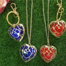 whole legend of zelda red blue heart necklace keychain crystal love pendants for women children fashion jewelry drop opal pendant necklace
