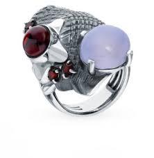 Серебряное <b>кольцо с халцедонами и</b> гранатом LIBERI ...