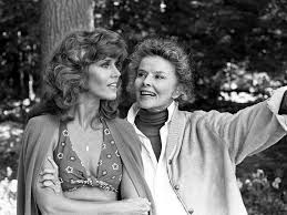 On Golden Pond Quotes Jane Fonda and Katharine Hepburn on the set of On Golden Pond 84