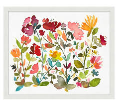 on oversized print wall art with oversize floral pattern framed print pottery barn