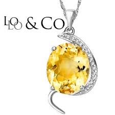 less lolo co 4 59 carat tw citrine genuine diamond platinum over 0 925 sterling silver pendant with chain