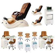 mocha 3 cleo gx spa chair nail salon furniture package with 2 manicure stations image