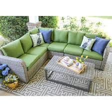 outdoor sectional. Plain Sectional Leisure Made Forsyth 5Piece Wicker Outdoor Sectional Set With Green  Cushions And O