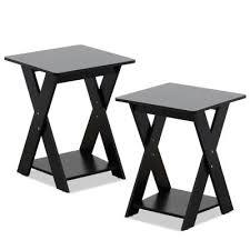 modern simplistic espresso criss crossed end table set of 2
