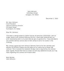 Termination Of Contract Letter Template Employee Termination Letter