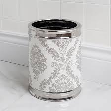 moda at home damask ceramic waste basket white silver kitchen stuff plus