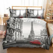 eiffel tower printed bedding set king