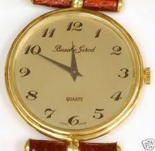 bueche girod wristwatches man s 18k gold bueche girod strap watch quartz nos
