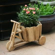 decoration, Mesmeric Garden With Stylish Decor Of Creative Flower Pots Made  Of Wooden Material In