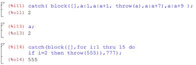 Курсовая работа по информатике Программирование в системе scilab  Пример блока catch