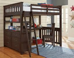 ne kids highlands full loft bed with desk espresso