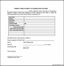 Credit Card Authorization Letter Pdf | Templatezet