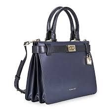 michael kors tatiana small leather satchel navy blue black