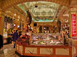 the food court at harrods with its distinctive deco ceiling harrods london photo
