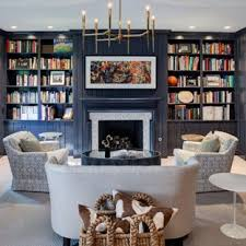 navy blue living room. Example Of A Transitional Carpeted Living Room Library Design In Chicago With Blue Walls, Navy
