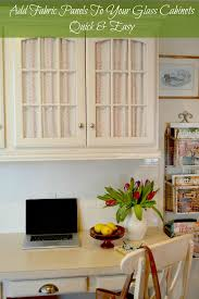 how to cover glass cabinet doors with fabric