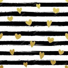Glitter gold striped wallpaper. Paint brush strokes background. Black and  white calligraphy stripes. Golden heart shape pattern.